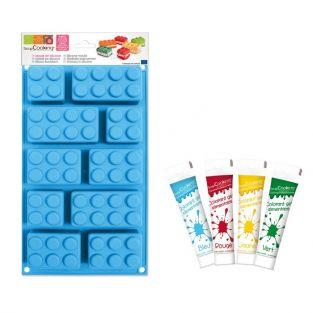 Lego Bricks Silicone Mould + Edible gel dyes kit