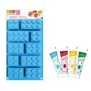 Coffret moule en silicone briques Lego + 4 colorants alimentaires