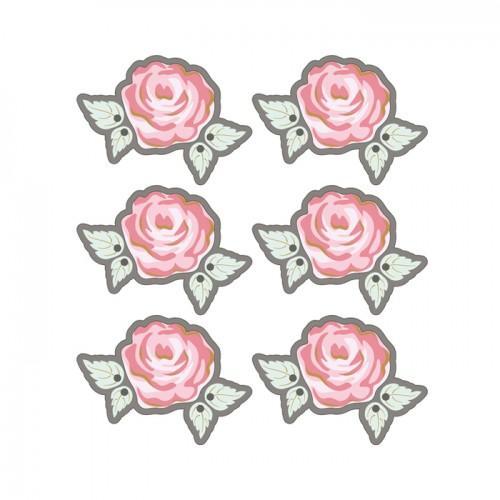 Autocollants 3D  4cm - Rose romantique avec contour gris
