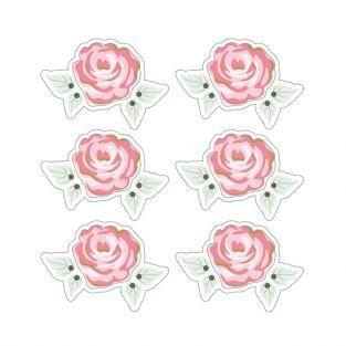 Autocollants 3D  4cm - Rose romantique avec contour blanc