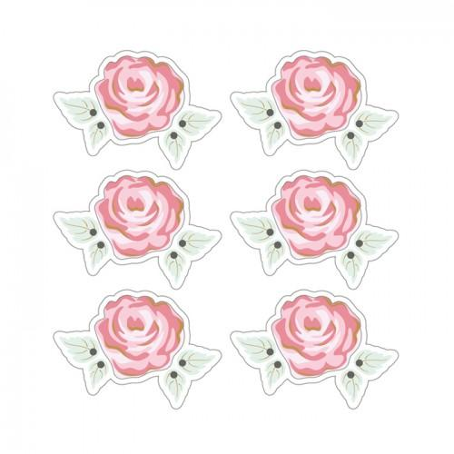3D Stickers 4 cm - Pink romantic with white outline