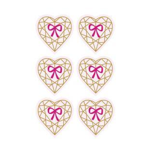 3D Stickers 4 cm - Diamond heart on light pink background