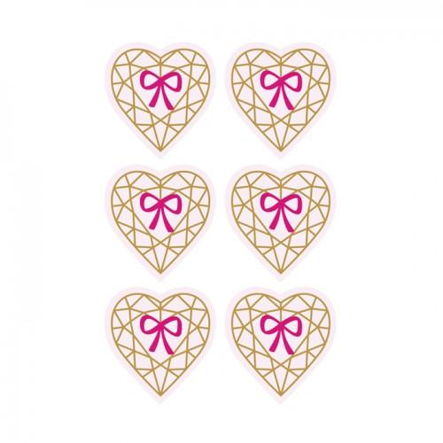 Autocollants 3D  4cm - Cœur diamant sur fond rose clair