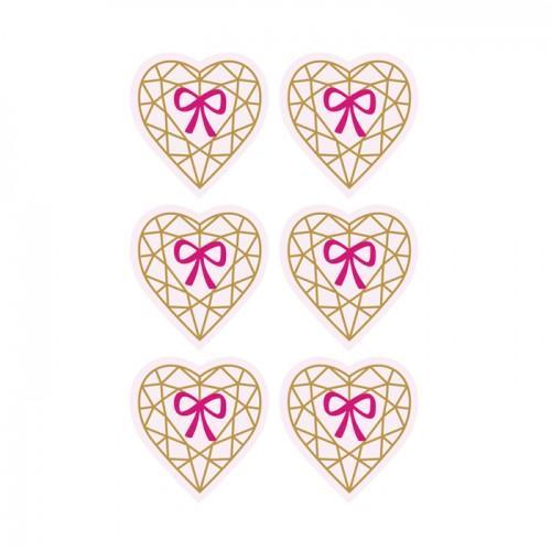 Pegatinas 3D 4 cm - Corazón diamante sobre fondo rosa claro