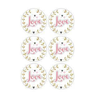3D Stickers Ø 4 cm - Love on white background