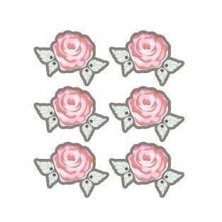 Autocollants 3D  Ø 4cm - Rose sur fond gris