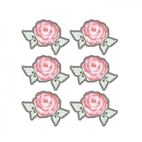 3D Stickers Ø 4 cm - Pink on grey background