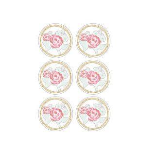 Pegatinas 3D Ø 4 cm - rosa sobre fondo blanco