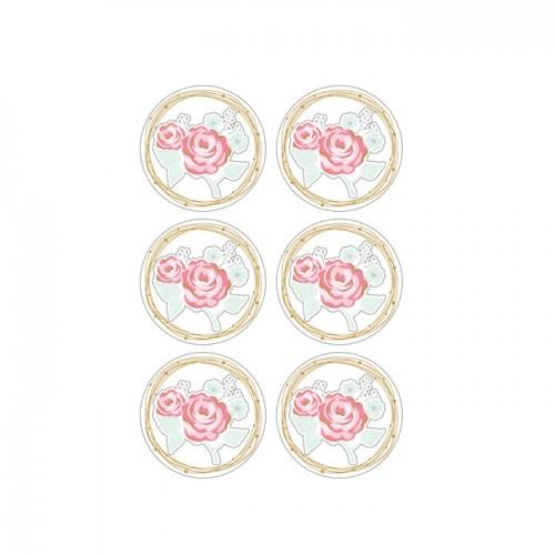 Autocollants 3D Ø 4cm - Rose sur fond blanc