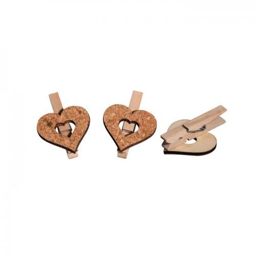 Pinces à linge bois x 6  - coeurs en liège