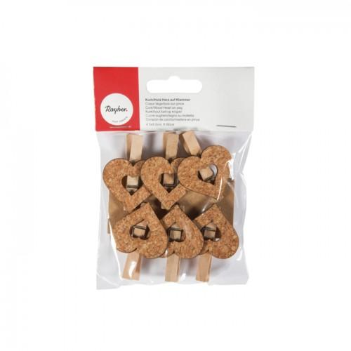 Wooden Clothespins x 6 - cork hearts