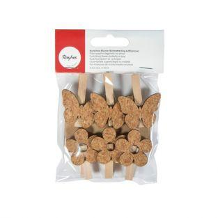 Pinces à linge bois x 6  - fleurs & papillons en liège