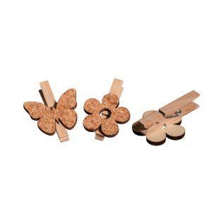 Pinzas de madera x 6 - Flores y mariposas de corcho