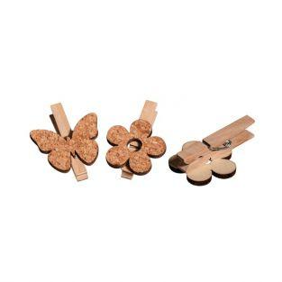 Wooden Clothespins x 6 - cork flowers & butterflies