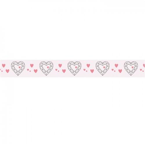 Washi Tape - white with golden heart - 15 m x 1 cm