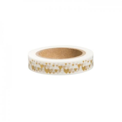 Washi Tape - Golden hearts on white background - 15 m x 1 cm