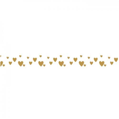Cinta adhesiva corazones dorados sobre fondo blanco - 15 m x 1 cm