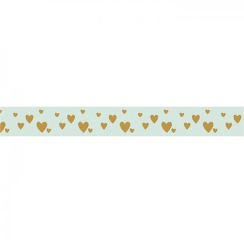 Cinta adhesiva corazones dorados sobre fondo verde claro - 15 m x 1 cm