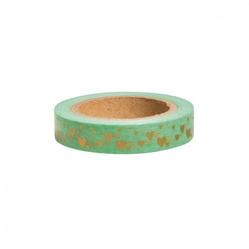 Washi Tape - Golden hearts on light green background - 15 m x 1 cm