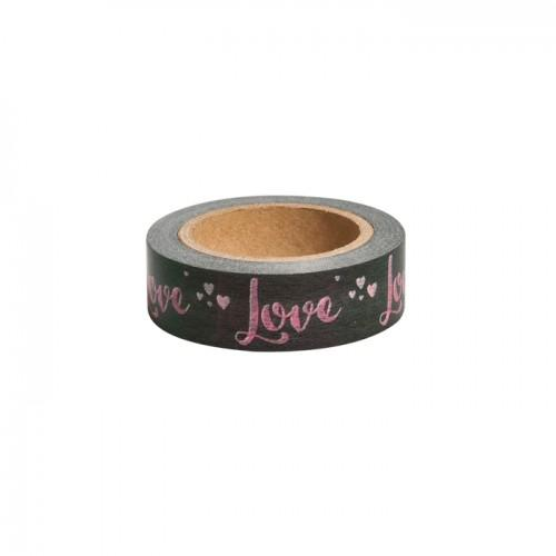 Washi Tape - Love on grey background - 15 m x 3 cm