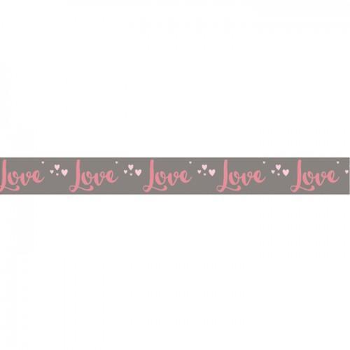 Washi Tape Love sur fond taupe - 15 m x 3 cm