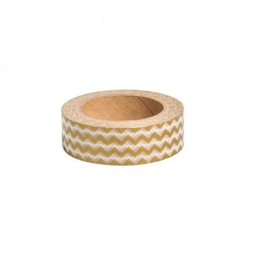 Washi Tape - Golden Zigzag - 15 m x 1,5 cm