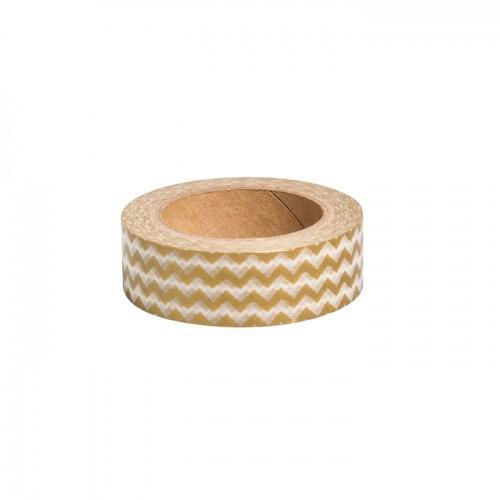 Washi Tape Zigzag doré - 15 m x 1,5 cm