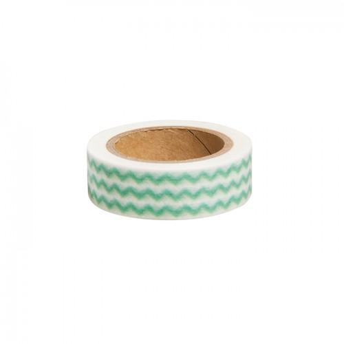 Cinta adhesiva zigzag verde - 15 m x 1,5 cm