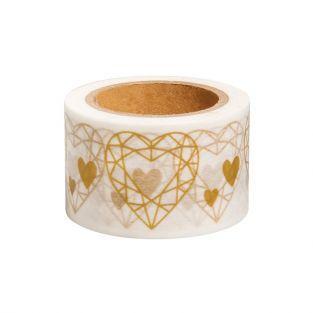 Washi Tape blanc avec Cœur doré - 15 m x 3 cm