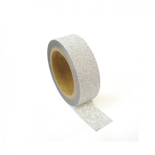 Masking tape with glitter 1,5 cm x 5 m - Silver