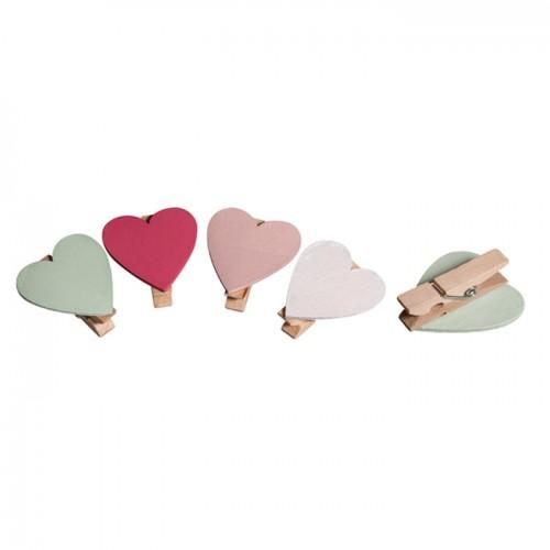 Clothespins x 8 - Hearts