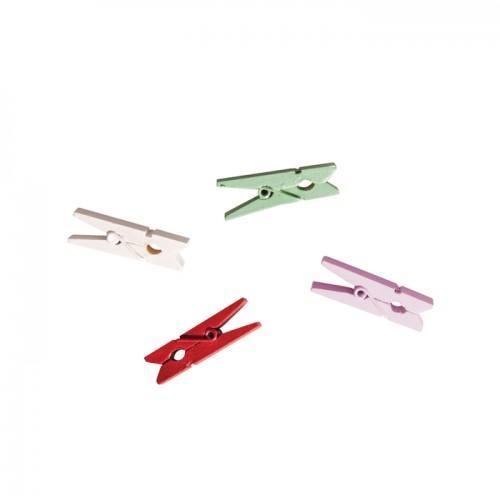 Pinces à linge bois x 24  - blanc rose rouge vert