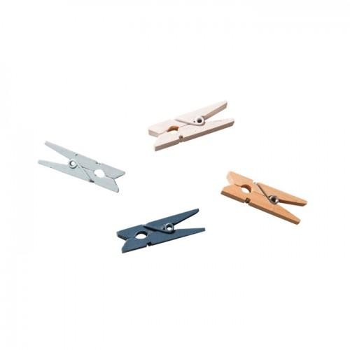 Clothespins x 24 - white, blue, light blue, wood