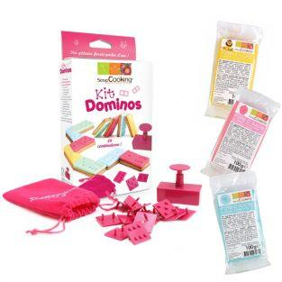 Kit Dominos + 3 sachets de pâte à sucre (bleu, rose et jaune)