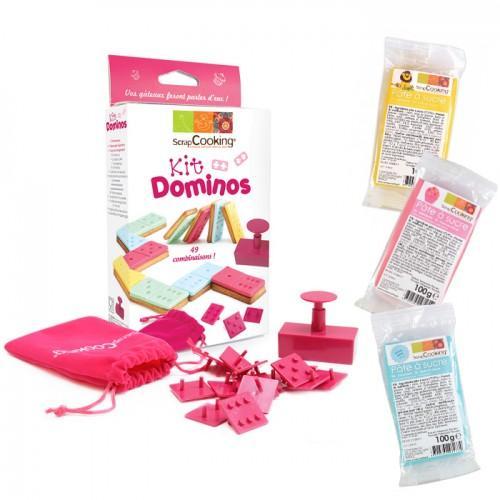 Kit de galletas Dominó + 3 pastas de azúcar (azul, rosa y amarillo)