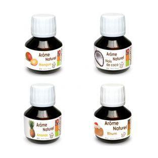 Coffret 4 arômes alimentaires exotiques (mangue, ananas, coco, rhum)