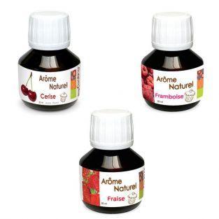Coffret 3 arômes alimentaires fruits rouges (fraise, framboise, cerise)