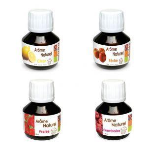 Coffret 4 arômes alimentaires fruitiers (framboise, fraise, pêche, citron)