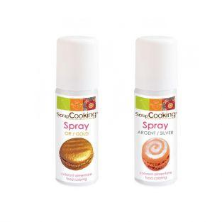 2 colorantes alimentarios en spray - plateado 50 ml & dorado 50 ml