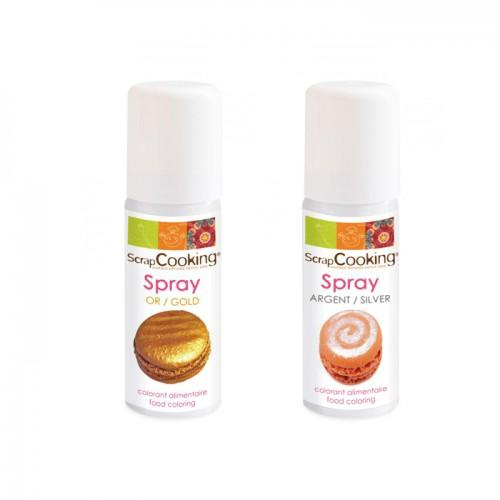 2 food coloring sprays - gold 50 ml + silver 50 ml