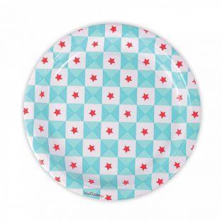 8 paper plates - blue stars geometry