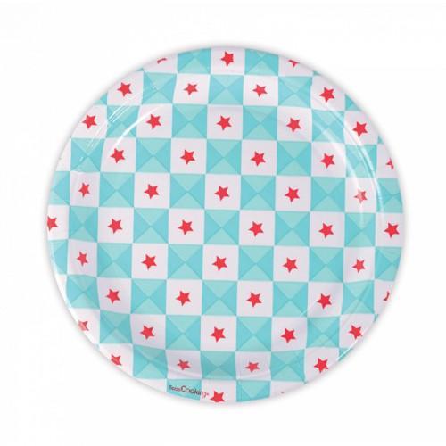 8 Platos de papel - geométricos con estrellas azules