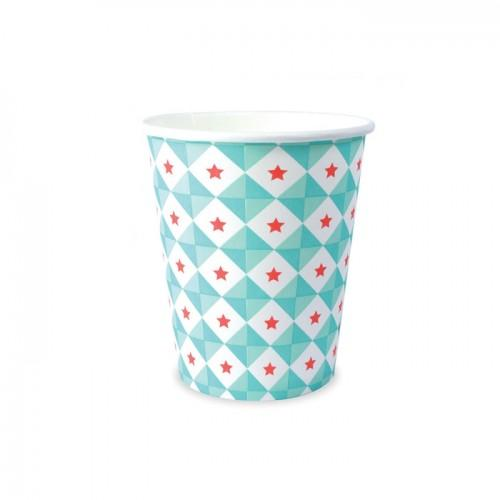 8 paper cups 25 cl - blue stars geometry
