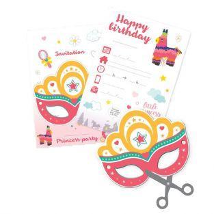 6 Cartes d'invitation à découper - Princesse