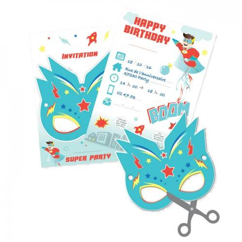 6 Invitation Cards - Super Hero