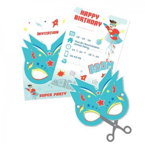 6 Invitation Cards - Super Hero