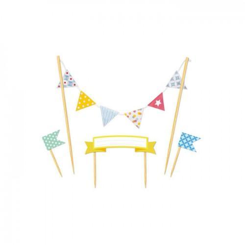 Déco gâteau fanions - Joyeux anniversaire