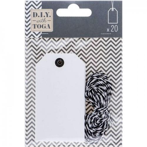 20 étiquettes blanches avec ficelle bicolore