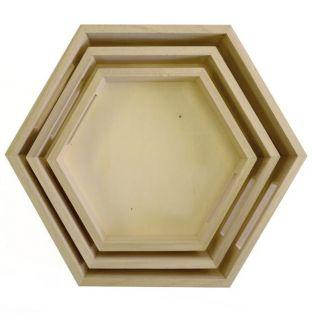 3 hexagonal wooden tray to decorate