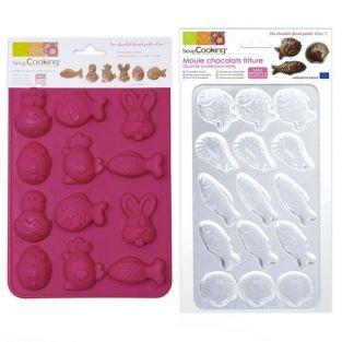 Chocolate mold - Funny rabbits, scallops, shrimps & fishes
